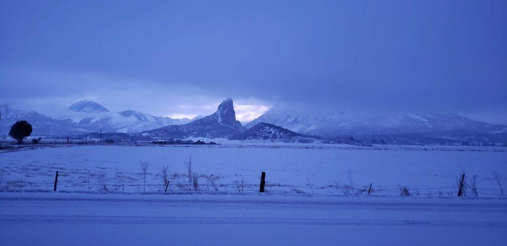needle rock, craford Colorado in the winter